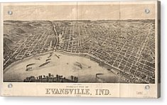 1880 Vintage Evansville Map Acrylic Print by Dan Sproul