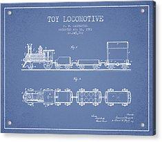 1881 Toy Locomotive Patent - Light Blue Acrylic Print