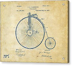 1881 Velocipede Bicycle Patent Artwork - Vintage Acrylic Print