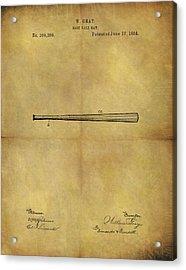 1884 Baseball Bat Illustration Acrylic Print by Dan Sproul