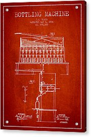 1884 Bottling Machine Patent - Red Acrylic Print