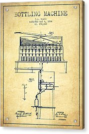 1884 Bottling Machine Patent - Vintage Acrylic Print by Aged Pixel
