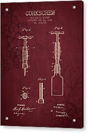 1884 Corkscrew Patent - Red Wine Acrylic Print by Aged Pixel