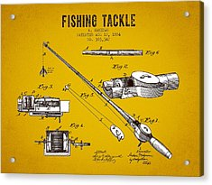 1884 Fishing Tackle Patent - Yellow Brown Acrylic Print