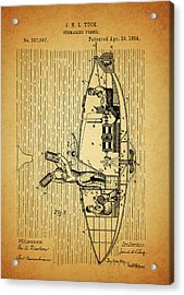 1884 Submarine Ship Patent Acrylic Print by Dan Sproul