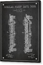 1885 Bank Safe Door Patent - Charcoal Acrylic Print by Aged Pixel