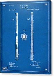 1885 Baseball Bat Patent Artwork - Blueprint Acrylic Print by Nikki Marie Smith