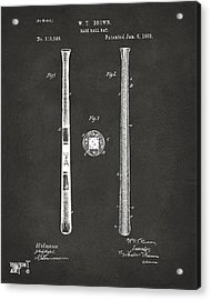 1885 Baseball Bat Patent Artwork - Gray Acrylic Print by Nikki Marie Smith