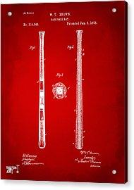 1885 Baseball Bat Patent Artwork - Red Acrylic Print by Nikki Marie Smith