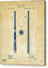 1885 Baseball Bat Patent Artwork - Vintage Acrylic Print by Nikki Marie Smith