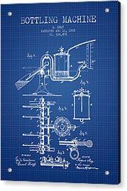 1885 Bottling Machine Patent - Blueprint Acrylic Print by Aged Pixel