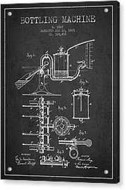 1885 Bottling Machine Patent - Charcoal Acrylic Print by Aged Pixel