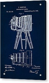 1885 Camera Us Patent Invention Drawing - Dark Blue Acrylic Print