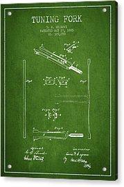 1885 Tuning Fork Patent - Green Acrylic Print