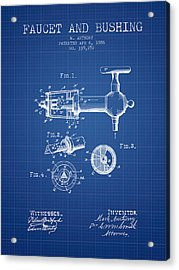 1886 Faucet And Bushing Patent - Blueprint Acrylic Print by Aged Pixel