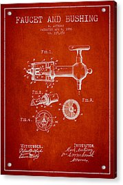 1886 Faucet And Bushing Patent - Red Acrylic Print by Aged Pixel