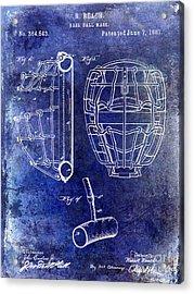 1887 Baseball Mask Patent Blue Acrylic Print by Jon Neidert