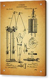 1887 Exercising Machine Patent Acrylic Print by Dan Sproul