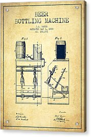 1888 Beer Bottling Machine Patent - Vintage Acrylic Print by Aged Pixel