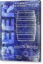 1889 Beer Barrel Patent Blue Acrylic Print