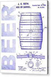 1889 Beer Barrel Patent Blueprint Acrylic Print
