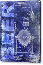 1889 Beer Filter Patent Blue Acrylic Print