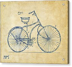 1890 Bicycle Patent Minimal - Vintage Acrylic Print by Nikki Marie Smith
