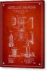 1890 Bottling Machine Patent - Red Acrylic Print