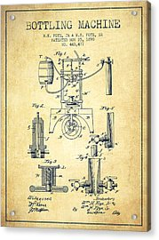 1890 Bottling Machine Patent - Vintage Acrylic Print by Aged Pixel