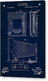 1891 Camera Us Patent Invention Drawing - Dark Blue Acrylic Print