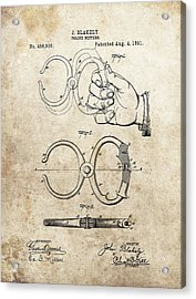 1891 Handcuffs Patent Acrylic Print by Dan Sproul