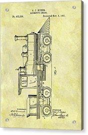 1891 Locomotive Patent Acrylic Print by Dan Sproul