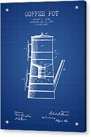 1892 Coffee Pot Patent - Blueprint Acrylic Print