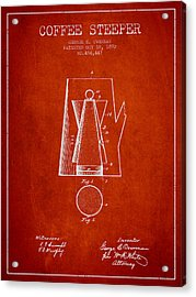 1892 Coffee Steeper Patent - Red Acrylic Print