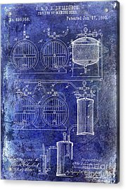 1893 Beer Making Patent Blue Acrylic Print