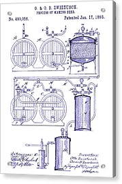 1893 Beer Making Patent Blueprint Acrylic Print