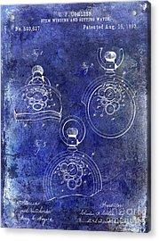 1893 Pocket Watch Patent Blue Acrylic Print
