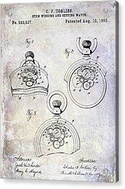 1893 Pocket Watch Patent Acrylic Print