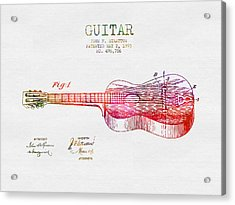 1893 Stratton Guitar Patent - Color Acrylic Print by Aged Pixel