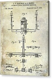 1893 Street Railway Signal Patent Acrylic Print