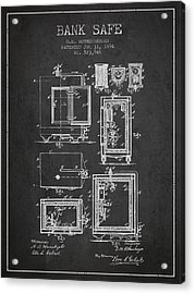 1894 Bank Safe Patent - Charcoal Acrylic Print by Aged Pixel