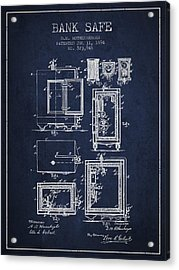 1894 Bank Safe Patent - Navy Blue Acrylic Print by Aged Pixel