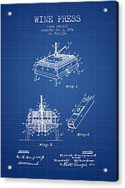 1894 Wine Press Patent - Blueprint Acrylic Print