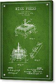 1894 Wine Press Patent - Green Acrylic Print