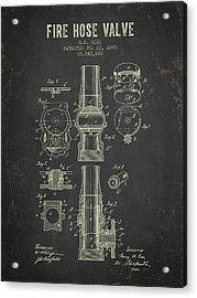 1895 Fire Hose Valve Patent- Dark Grunge Acrylic Print by Aged Pixel