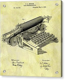 1896 Typewriter Patent Acrylic Print by Dan Sproul