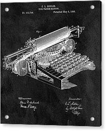 1896 Typewriter Patent Illustration Acrylic Print by Dan Sproul