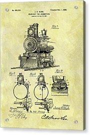 1898 Locomotive Patent Acrylic Print by Dan Sproul