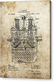 1898 Typewriter Patent Acrylic Print by Dan Sproul