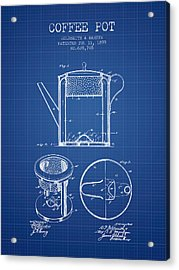 1899 Coffee Pot Patent - Blueprint Acrylic Print